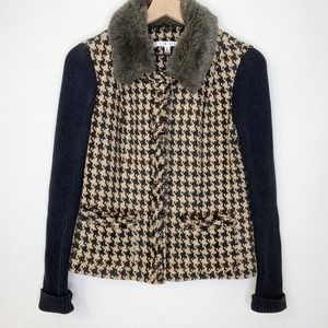 Cabi | #978 Houndstooth Faux Fur Collar Jacket 4